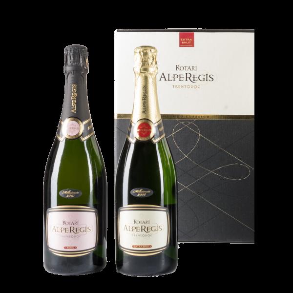 Cofanetto regalo da 2 bottiglie Trentodoc AlpeRegis e AlpeRegis Rosé