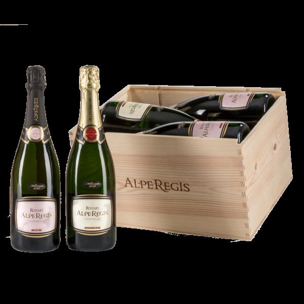 Confezione regalo in legno da 6 bottiglie Trentodoc AlpeRegis e AlpeRegis Rosé